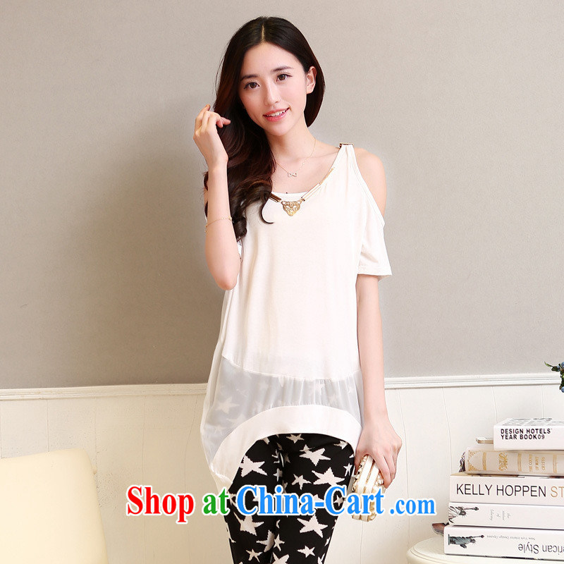 Qin Qing store 2015 female T shirts summer terrace shoulder short-sleeved, long T-shirt snow woven stitching loose video thin T pension white bbjy 1252 are code