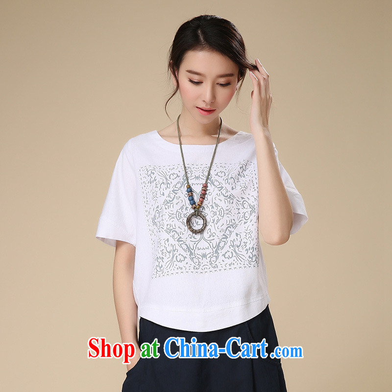 Deloitte Touche Tohmatsu store sunny summer 2015 new arts, Yau Ma Tei cotton short-sleeved T T-shirt girl loose T shirt T-shirt woman white sjkc XXL 523