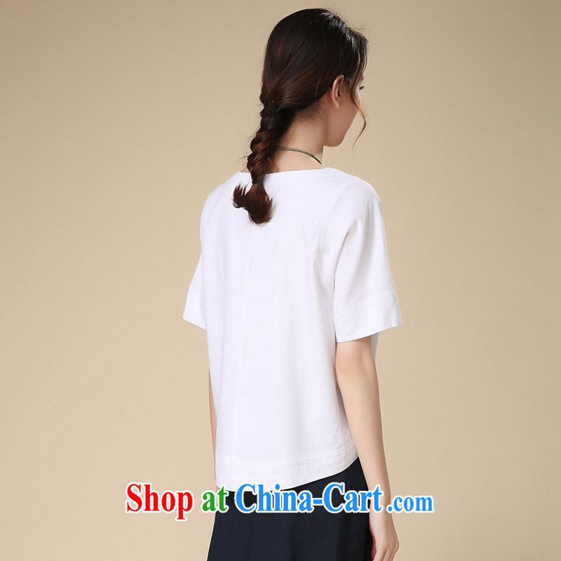 Deloitte Touche Tohmatsu store sunny summer 2015 New Literature and Art, the Cotton short-sleeved T shirt female liberal T shirt T-shirt woman white sjkc 523 XXL, GENYARD, shopping on the Internet