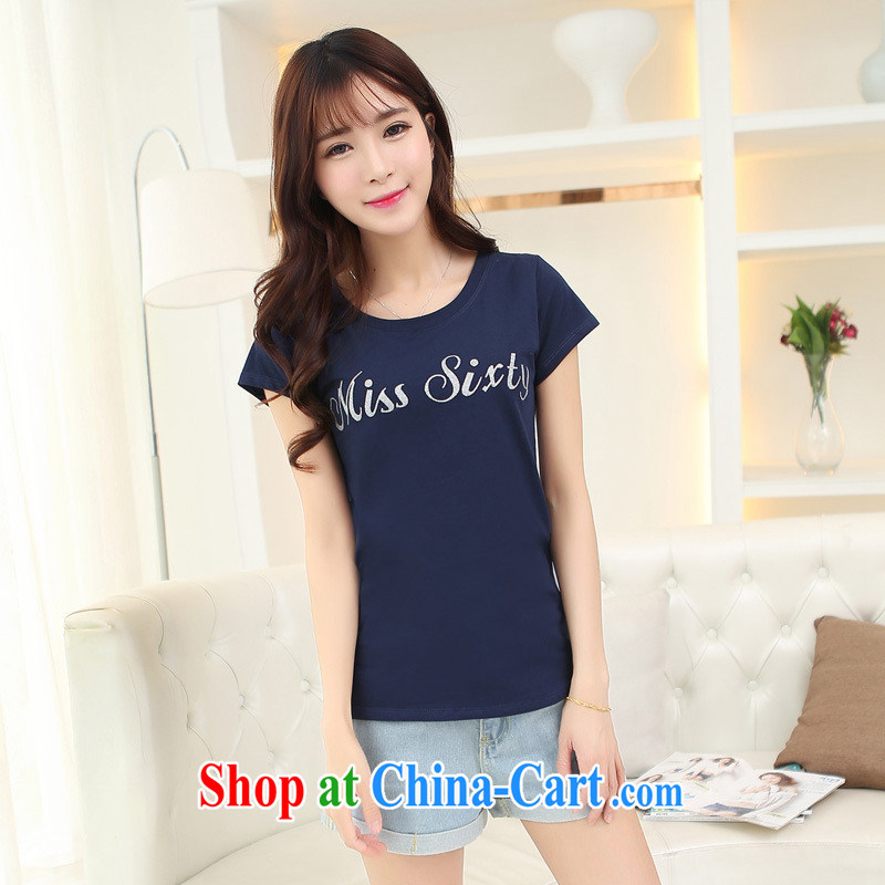 Qin Qing store 2015 new ladies summer shirt letter T pension round-collar short-sleeve beauty graphics thin solid T shirt black bbjy 1209 are code