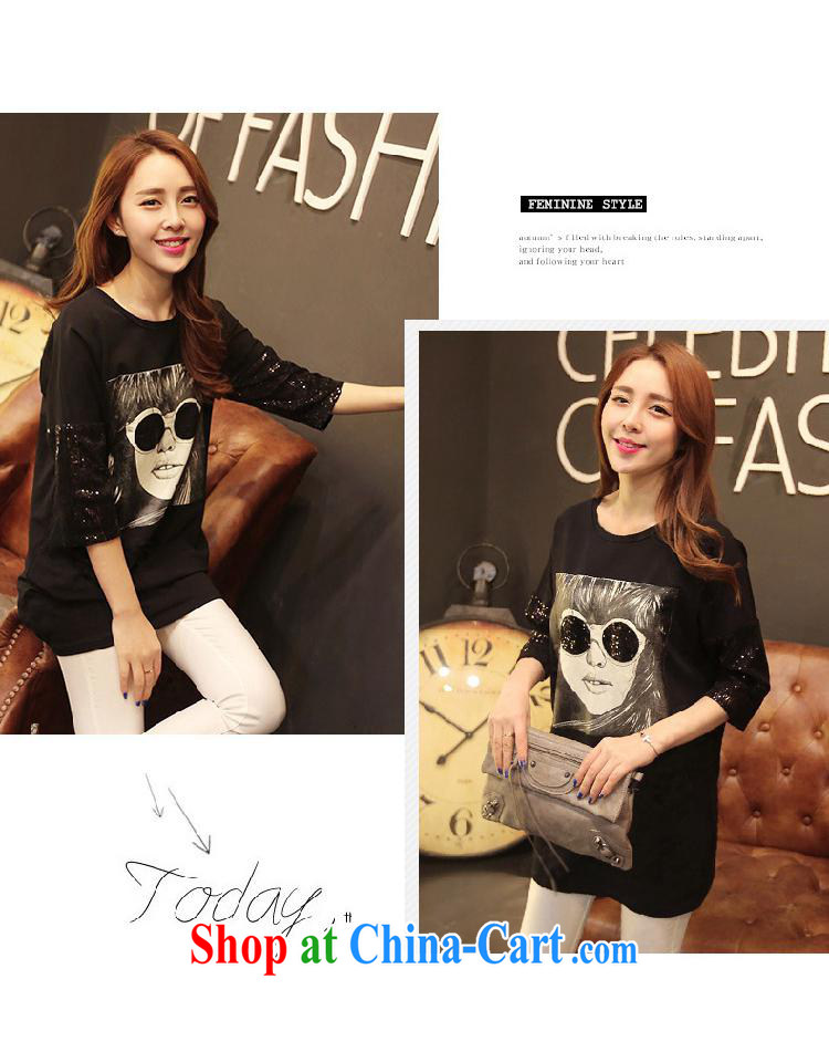 Qin Qing store T shirts women 2015 summer new female Korean version has been in the barrel for solid, 7 cuff T shirt black YDBW 6618 XL pictures, price, brand platters! Elections are good character, the national distribution, so why buy now enjoy more preferential! Health