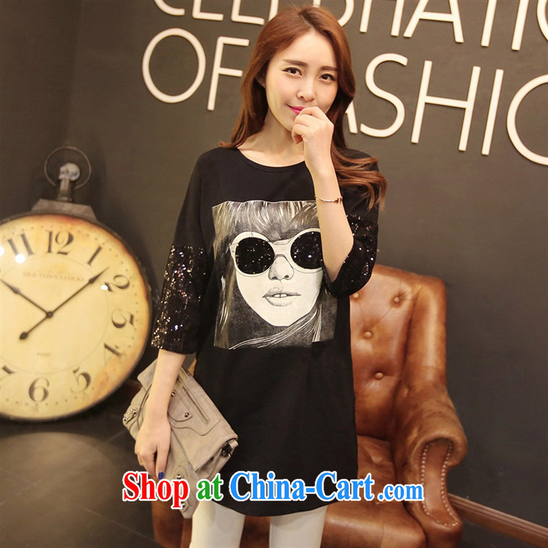 Qin Qing store T shirts women 2015 summer new female Korean version has been in the barrel longer solid 7 cuff T shirt black YDBW XL 6618