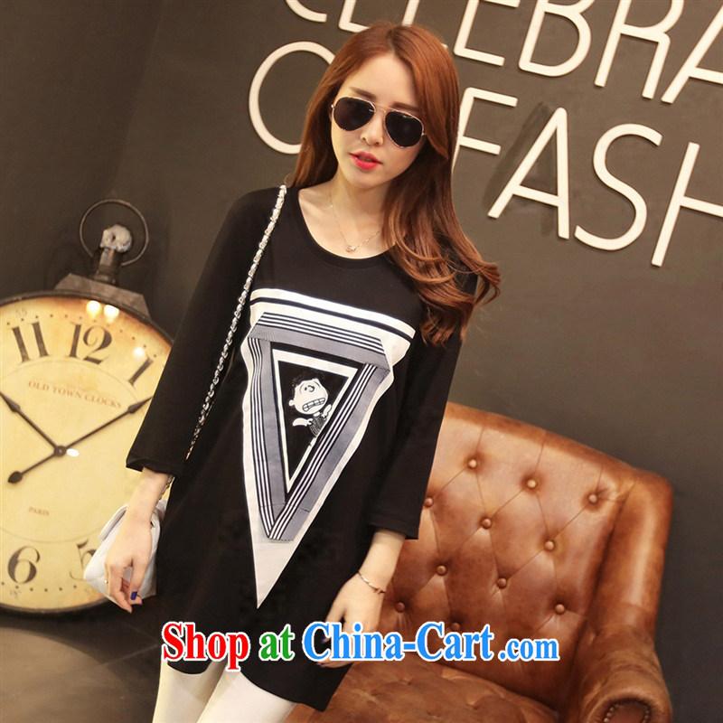 Deloitte Touche Tohmatsu store sunny summer 2015 new girls T-shirts Korean version in relaxed long leisure 9 sub-sleeved black shirt T black YDBW XL 6612