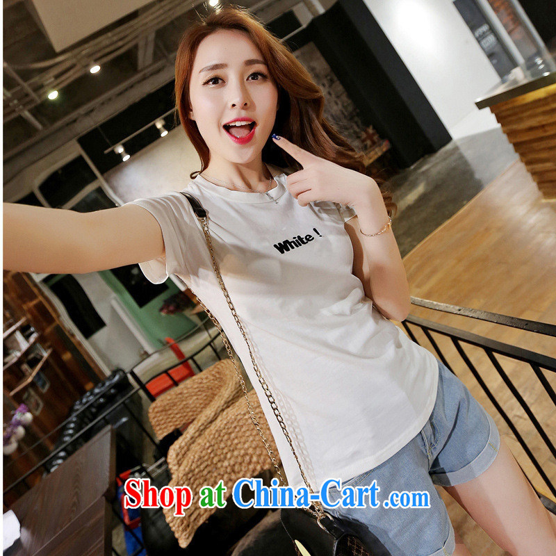 Deloitte Touche Tohmatsu store sunny summer 2015 new female Korean Beauty solid T-shirt with letters T cotton shirts female short-sleeved white zmcx L 855