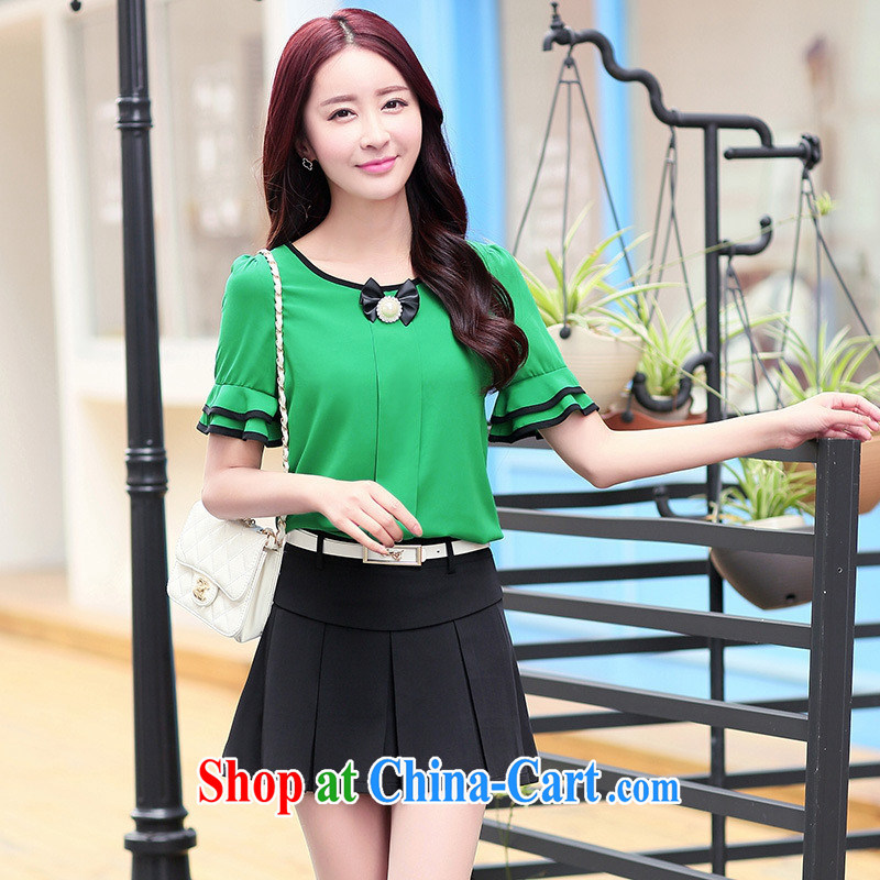 Qin Qing store 2015 summer new female Korean stylish lounge suite snow skirt woven shirts T-shirt skirt yellow GYS XXL 5871