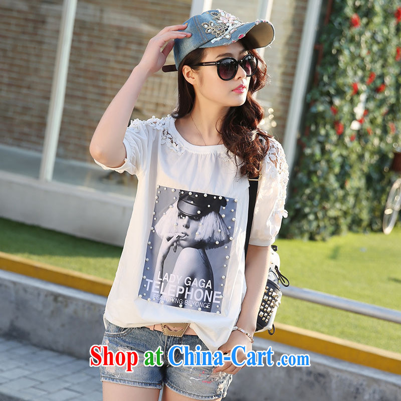 Qin Qing store 2015 summer new Korean lax T-shirt lace stitching the code Solid short-sleeved shirt T white XZX 3887 are code