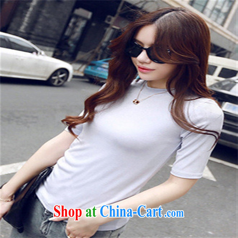 Deloitte Touche Tohmatsu sunny store 2015 new Korean female summer short T-shirts Solid Color beauty graphics thin stylish ladies short-sleeved T ? white NDK L 1041