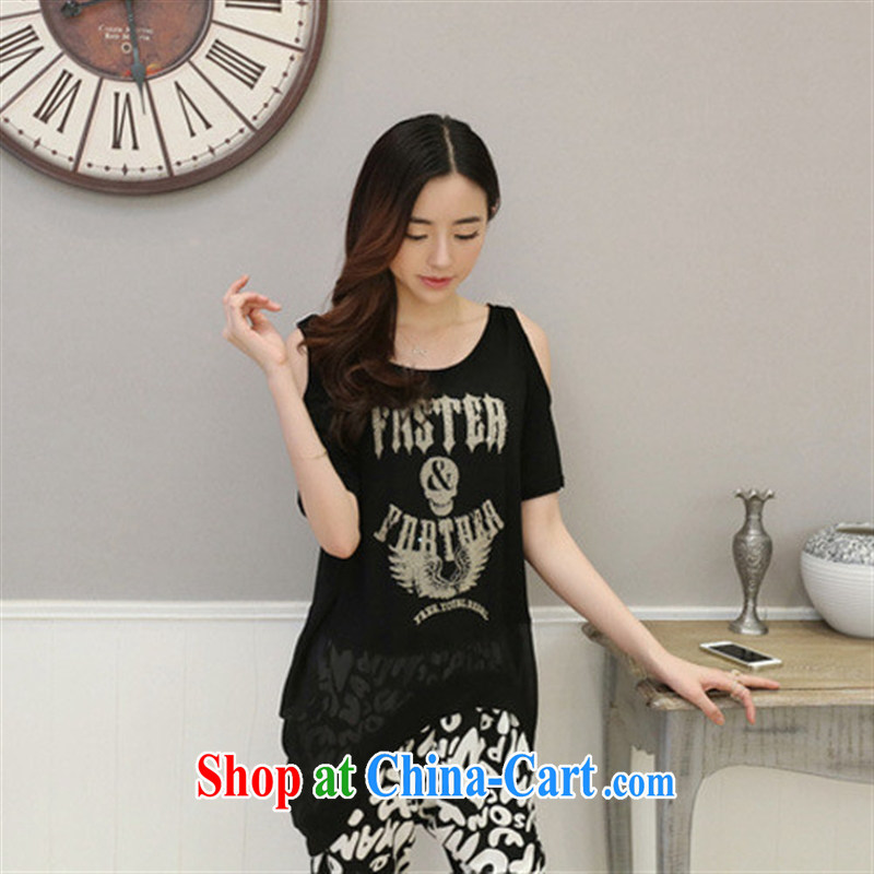 Qin Qing store 2015 new summer beauty stylish Korean your shoulders hot drill snow woven stitching T shirts girls short-sleeved black bbjy 1255 are code