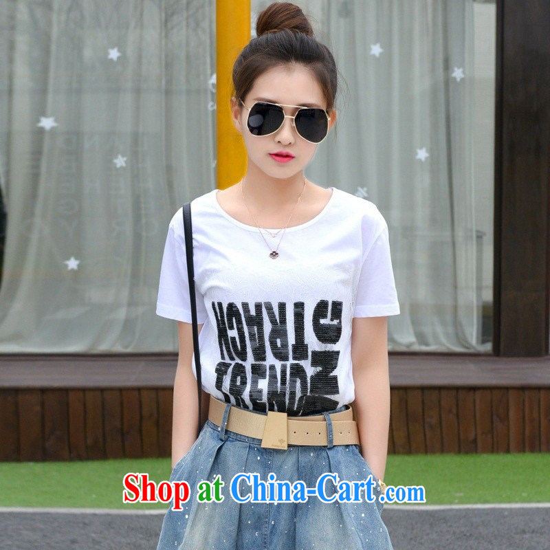 Deloitte Touche Tohmatsu store sunny summer 2015 new Korean female round-collar loose T-shirt white letters short-sleeved shirt T girls white summer 6968 SYB XL