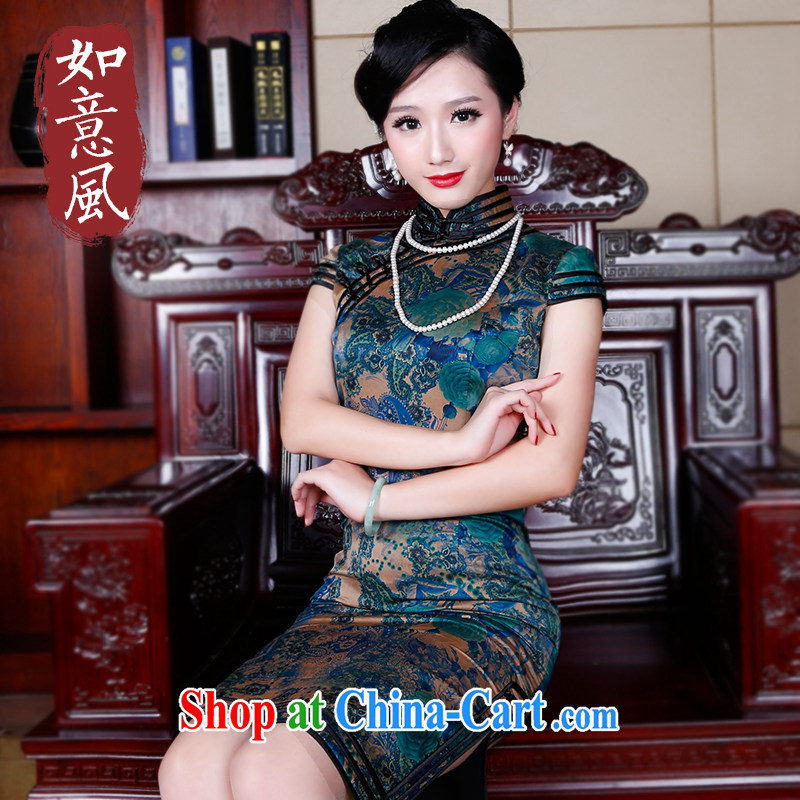 Wind sporting high-end new Hong Kong cloud dresses cheongsam dress Silk Dresses and stylish summer improved antique cheongsam dress suit 5243 S