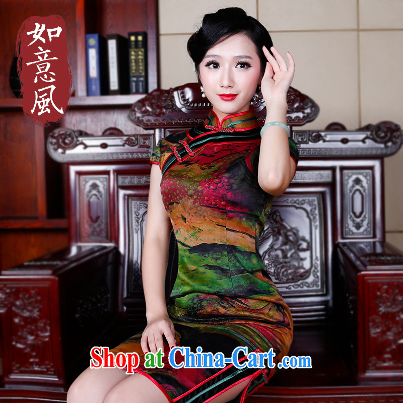 Sporting high wind silk fragrant cloud yarn Chinese classical cheongsam dress elegant qipao beauty 5240 fancy XL