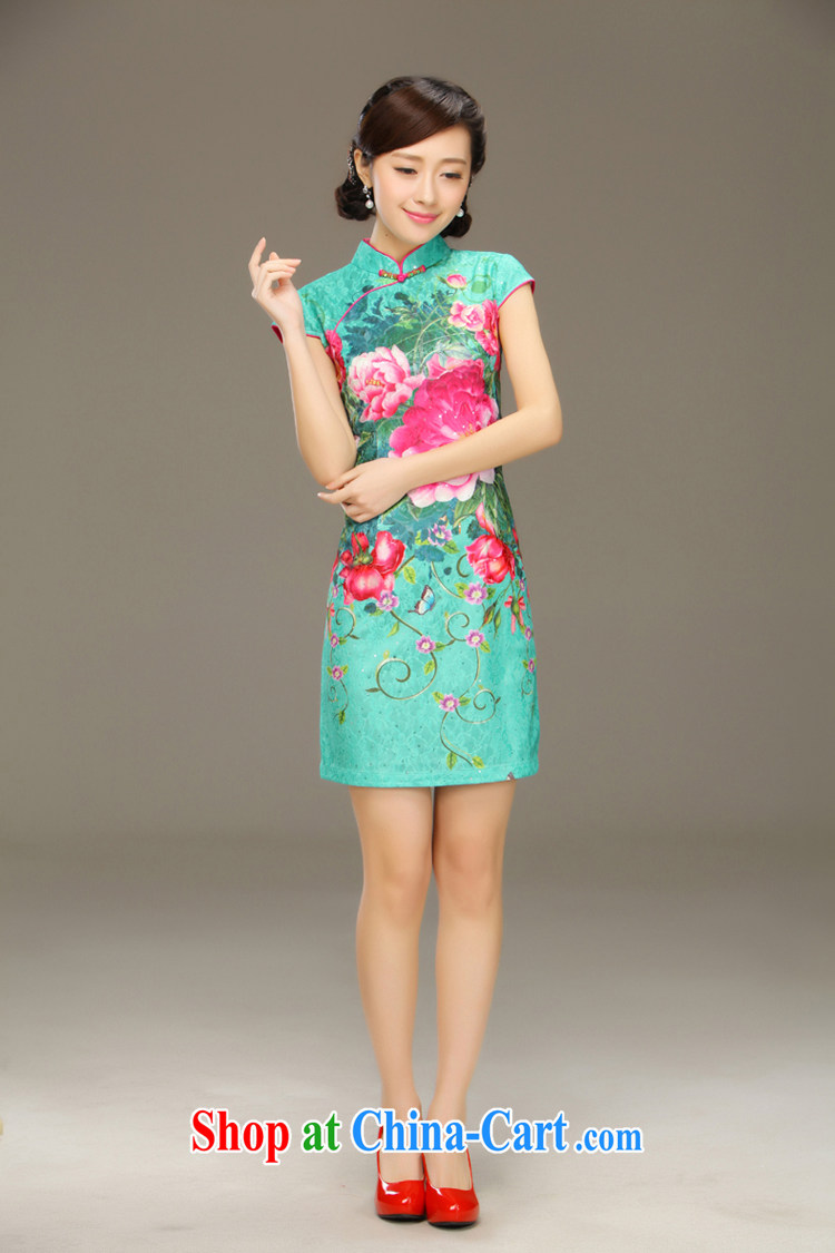 Slim LI knows the heart lace stamp antique cheongsam dress 2015 new dresses short spring and summer with improved QLZ Q 15 6023 lock heart XXL pictures, price, brand platters! Elections are good character, the national distribution, so why buy now enjoy more preferential! Health