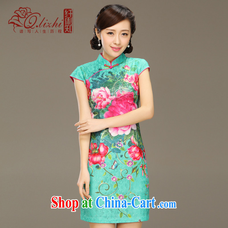 Slim LI knows the heart lace stamp antique cheongsam dress 2015 new dresses short spring and summer with improved QLZ Q 15 6023 lock heart XXL
