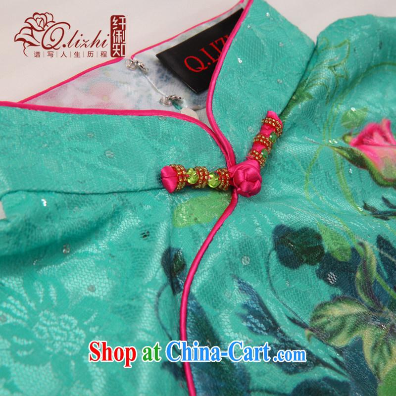 Slim LI knows the heart lace stamp antique cheongsam dress 2015 new dresses, short spring and summer improved QLZ Q 15 6023 lock heart XXL, slim Li (Q . LIZHI), online shopping