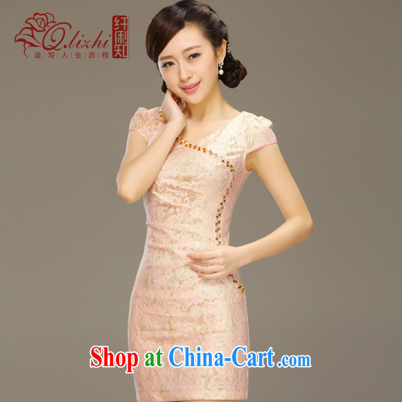 Slim li know dance with cheongsam dress stylish summer improved short daily retro beauty lace summer dress girls QLZ Q 15 6024 dance with XXL