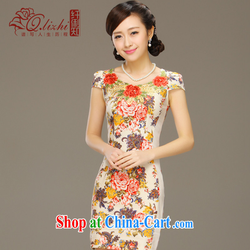 Slim li know Lau, National fancy new dresses China wind classic women's clothing embroidery antique cheongsam dress QLZ Q 15 6026 Emily XXL.