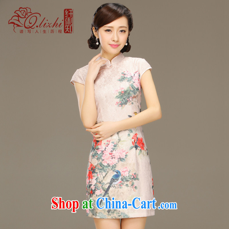 Slim li know dance fall 2015 spring and summer new retro improved stylish daily short-sleeved qipao style dresses QLZ Q 15 6027 Dance Off XXL