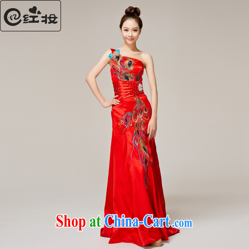 Recall that the red makeup and stylish single shoulder wedding dresses red spring and summer bridal toast serving Chinese qipao long dress Q 12,059 red XL