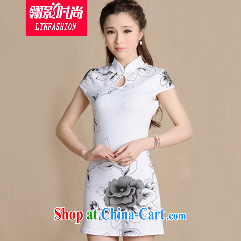 Ling film and stylish 2015 summer new ethnic wind painting beauty antique dresses cotton female white