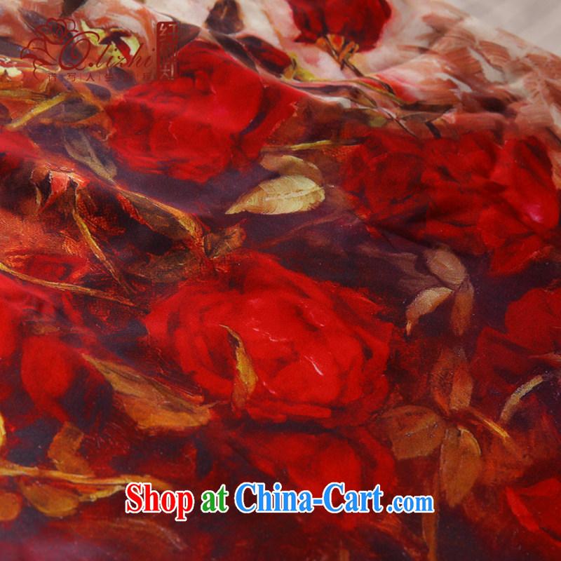 Slim li know dust shadow silk short cheongsam dress new spring and summer retro daily improved sauna Silk Dresses women Beauty QLZ Q 15 6028 dust shadow XXL, slim Li (Q . LIZHI), online shopping