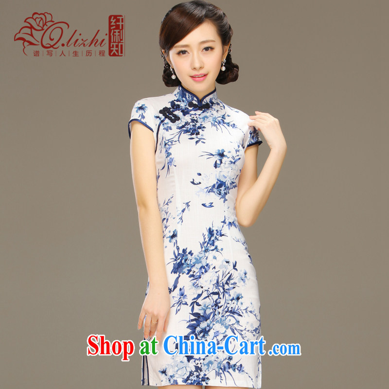 Slim li know smoke sponsors summer New Sau San antique porcelain was qipao cotton Ma improved stylish summer day dresses QLZ Q 15 6029 tobacco sponsors XXL