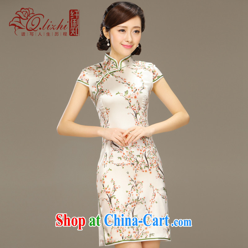 Slim li know tolerance if double heavy sauna silk Silk Cheongsam dress upscale retro improved short cheongsam dress QLZ Q 15 6030 fault tolerance if XXL