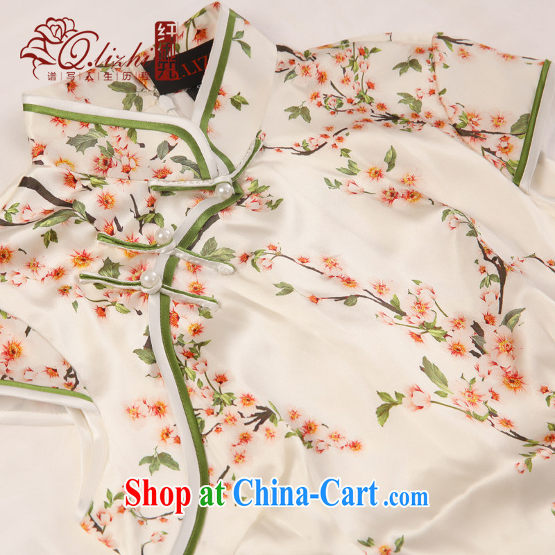 Slim li know that fault tolerance if double heavy sauna silk Silk Cheongsam dress upscale retro improved short cheongsam dress QLZ Q 15 6030 fault tolerance if XXL, slim Li (Q . LIZHI), online shopping