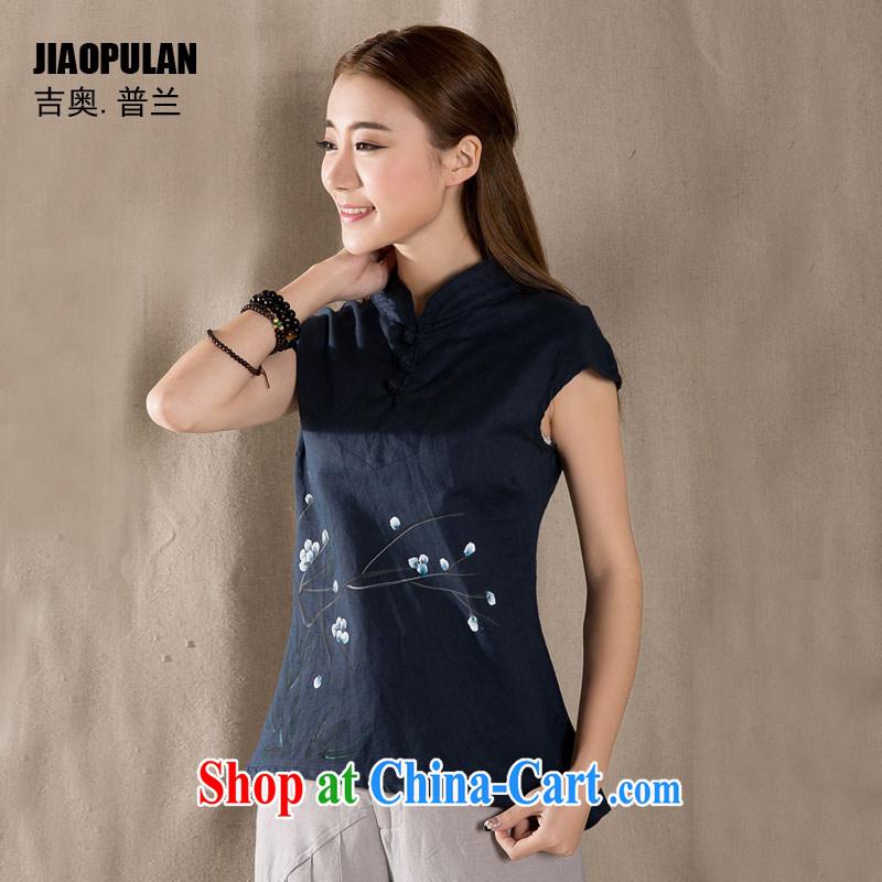 Mr. Kaplan 2015 spring and summer new Ethnic Wind China wind-buckle cotton Ma hand-painted ladies retro art T-shirt PLZ 1111 Tibetan cyan XXL