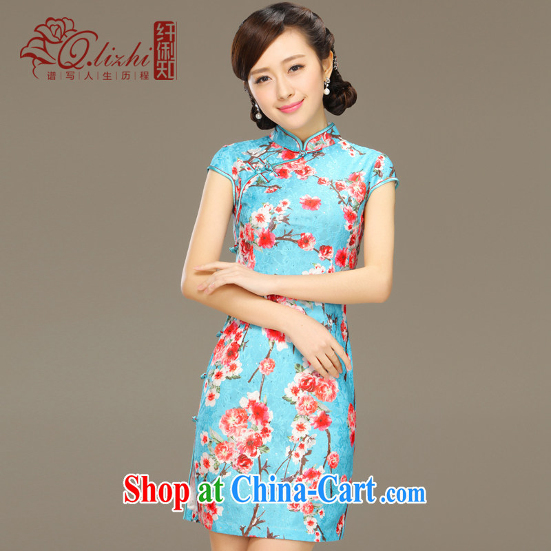 Slim li know that Zhang Qinsheng blue new spring and summer with short dresses improved cultivating everyday dress stylish retro dresses QLZ Q 15 6031 Zhang Qinsheng blue XXL