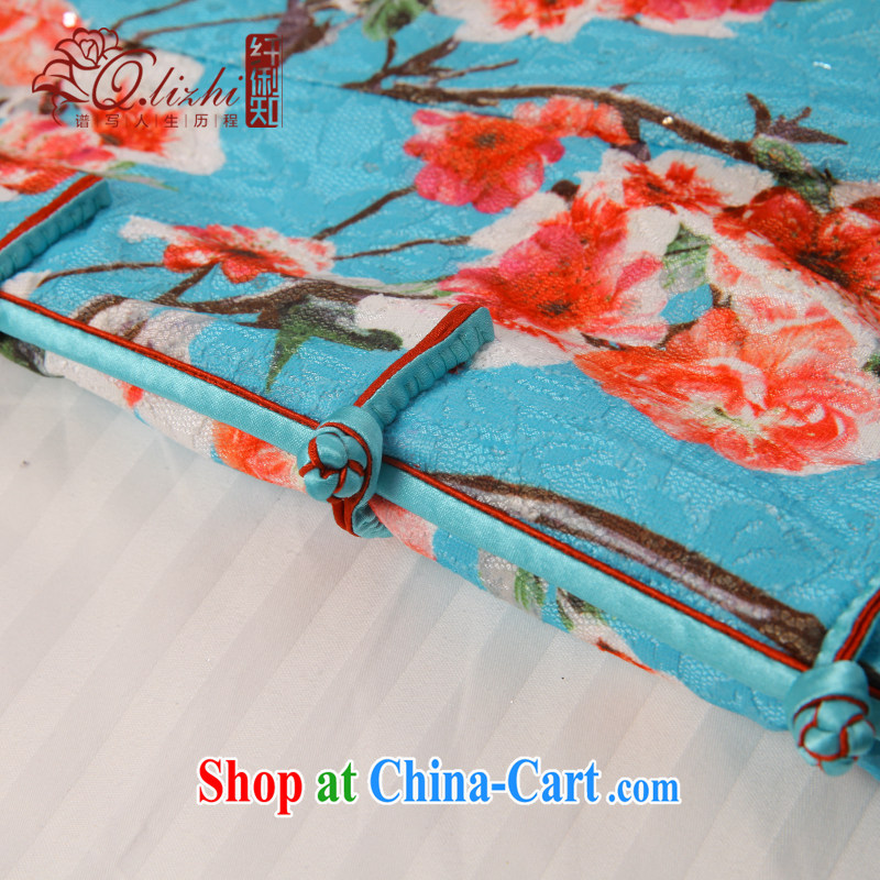 Slim li know that Zhang Qinsheng blue spring summer short dresses improved cultivation daily dress Stylish retro dresses QLZ Q 15 6031 Zhang Qinsheng blue XXL, slim Li (Q . LIZHI), online shopping