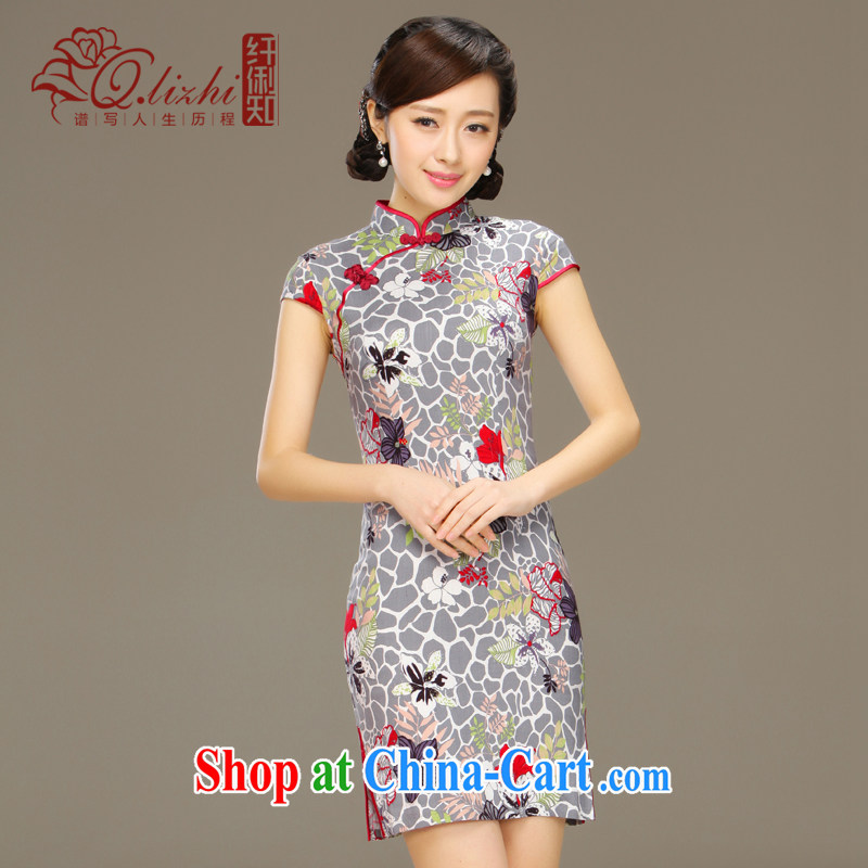 Slim li know Hong Kong yoga spring and summer with retro improved cotton Ma ethnic wind women's clothing new short linen cheongsam dress QLZ Q 15 6032 Hong Kong yoga XXL