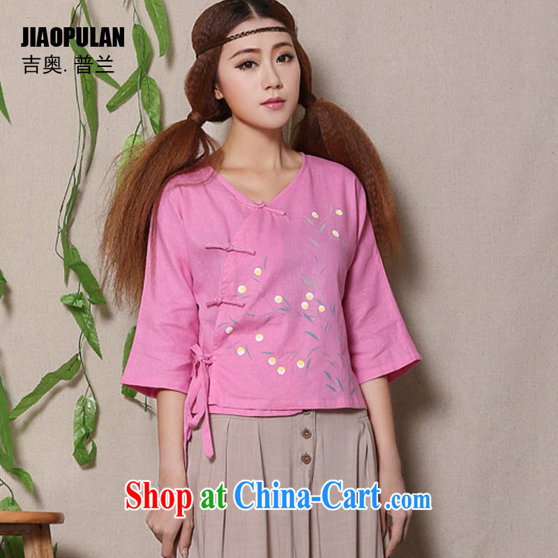 Mr. Kaplan 2015 spring and summer new hand-painted cotton the fresh arts 100 ground Chinese female Chinese T-shirt PLZ 1136 pink XL