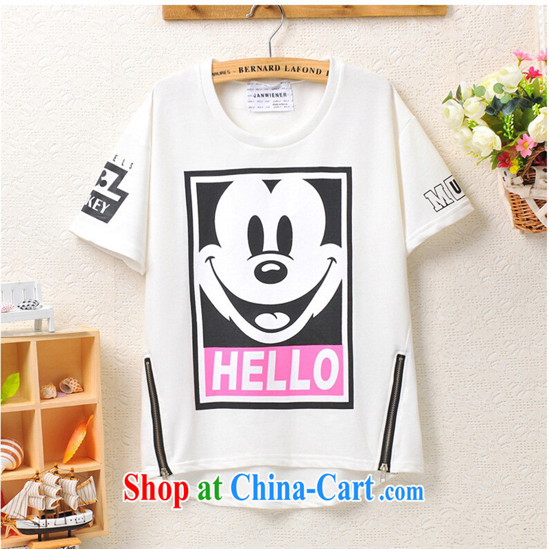 Deloitte Touche Tohmatsu store sunny summer 2015 the new Korean cute smiley face zip letters, stamp duty short-sleeved shirt T female black are code