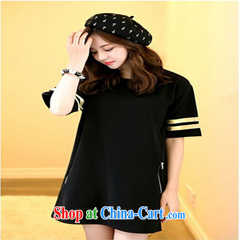 Qin Qing store 2015 Korean liberal T-shirts female short-sleeved larger blouses long T T-shirt royal blue XL