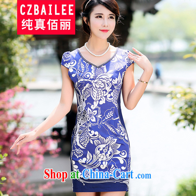 Jin Bai Lai-New cheongsam dress improved summer 2015 women stamp high fashion dresses beauty Chinese Dress 4 XL
