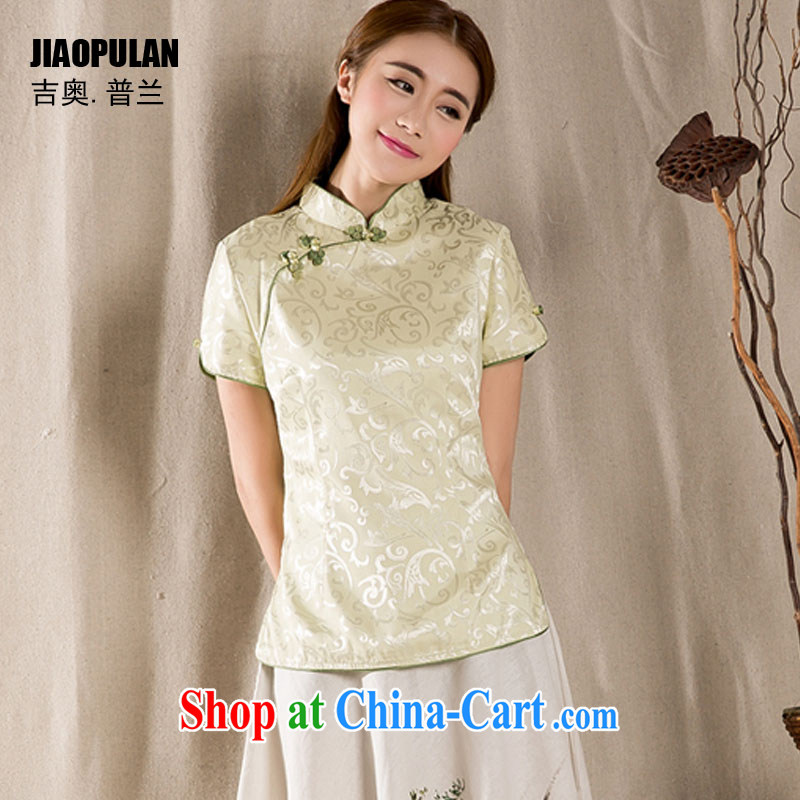 Mr. Kaplan 2015 spring and summer New-snap embroidery female T-shirt China wind female antique Chinese PLZ 1213 green XXL