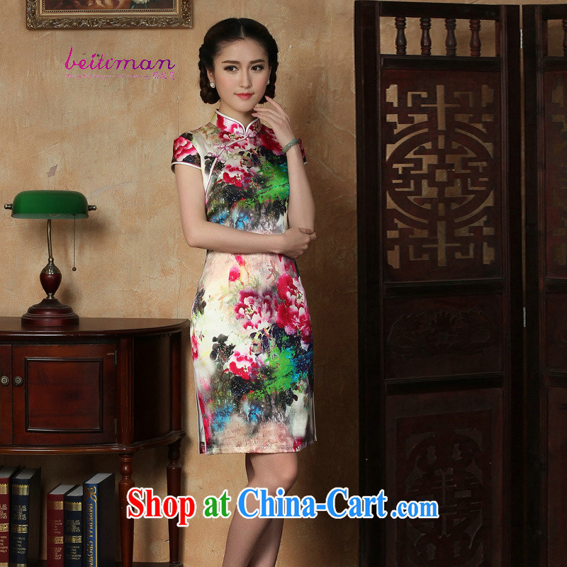 Pauline sprawl economy 2015 spring new Silk Cheongsam dress retro fashion improved cheongsam dress as XXXL