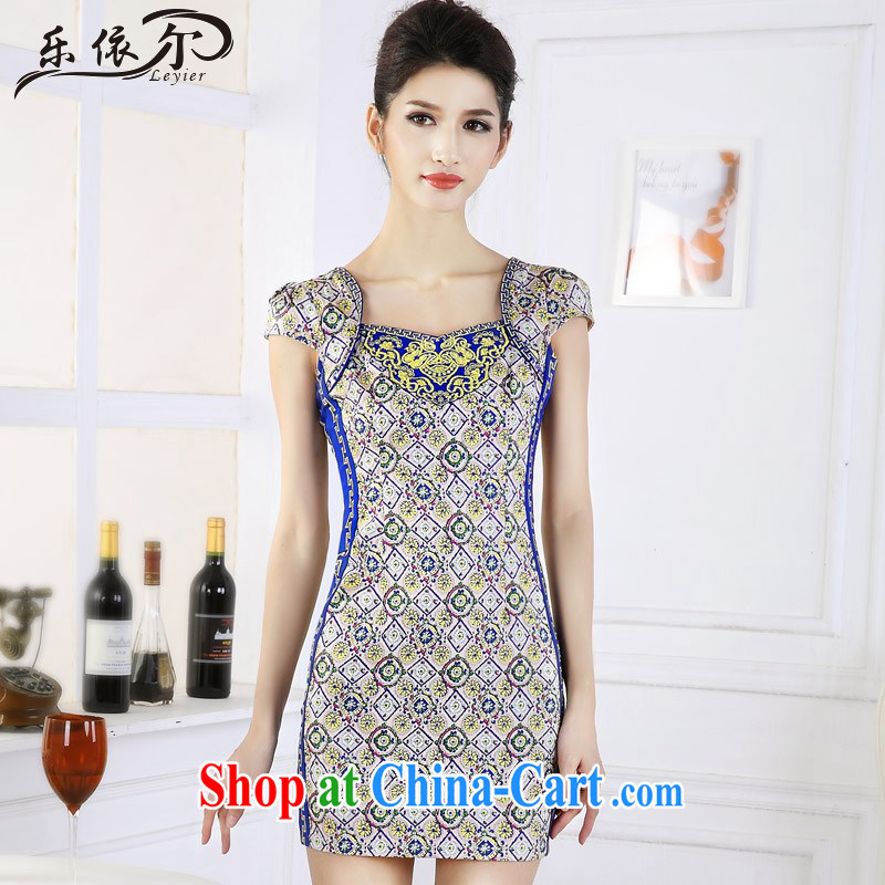 And, in accordance with antique Ethnic Wind girl cheongsam improved embroidery take short cheongsam dress LYE 66,639 fancy XXL
