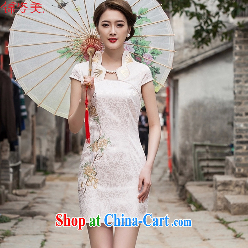 kam beauty new stylish cheongsam dress graphics thin beauty short cheongsam dress, 3069 M apricot XL