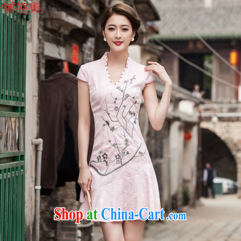 kam beauty new V collar embroidered Phillips nails Pearl crowsfoot skirt with embroidery short cheongsam M 3070 red XL