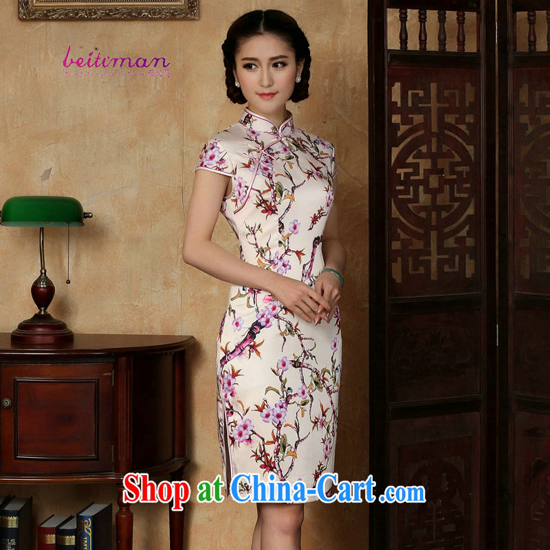 Mrs Ingrid sprawl economy 2015 summer new, short-sleeved ethnic wind short, daily cheongsam dress improved girls stylish embroidered cheongsam as shown XXL