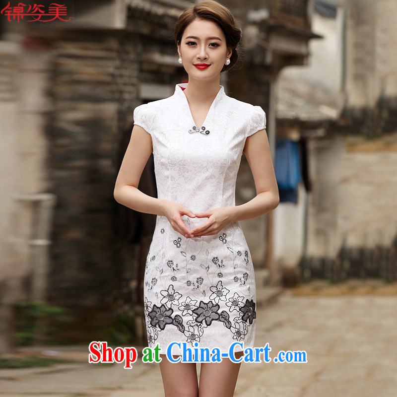 Kam-beauty new Stylish retro short-day qipao cheongsam dress M 3072 white XXL