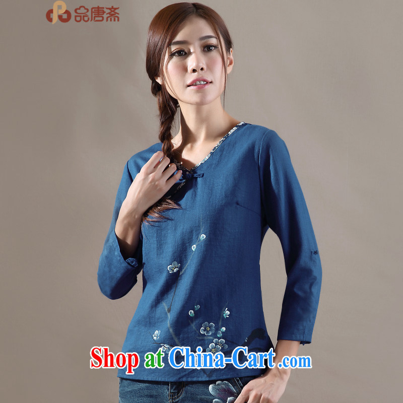 For Ramadan Tang Tang is China wind long-sleeved original spring new female retro T-shirt improved Han-blue M