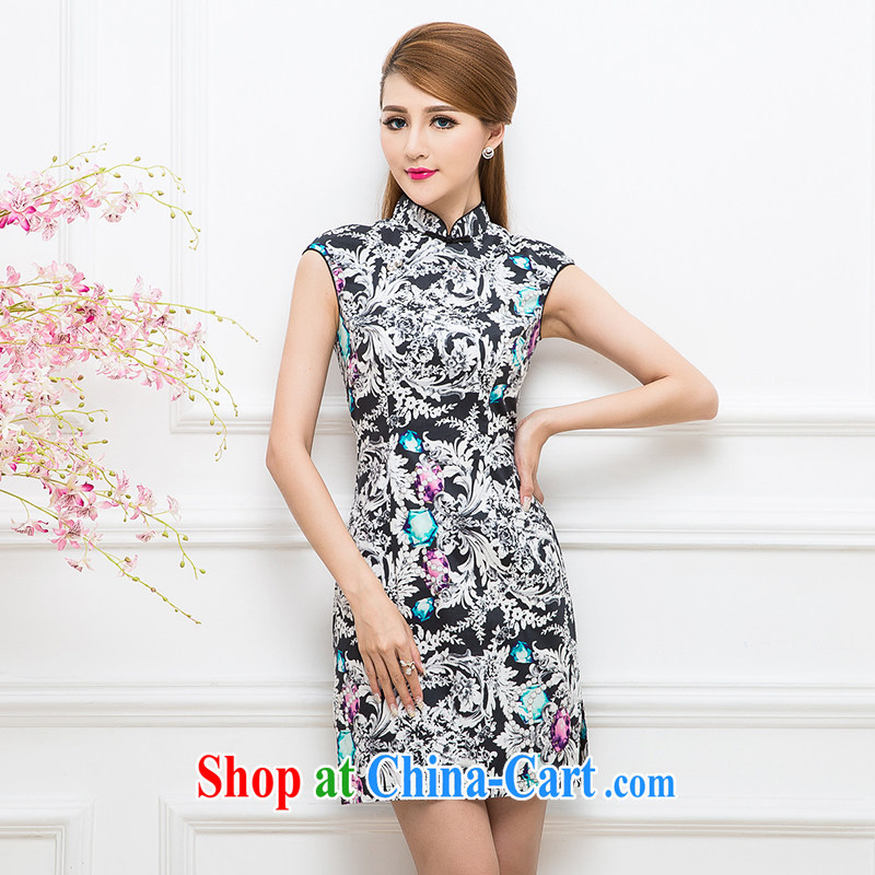 The Tang dynasty upscale luxury combined beauty sleeveless cheongsam dress TCF 30,177 black roses jewel XXL