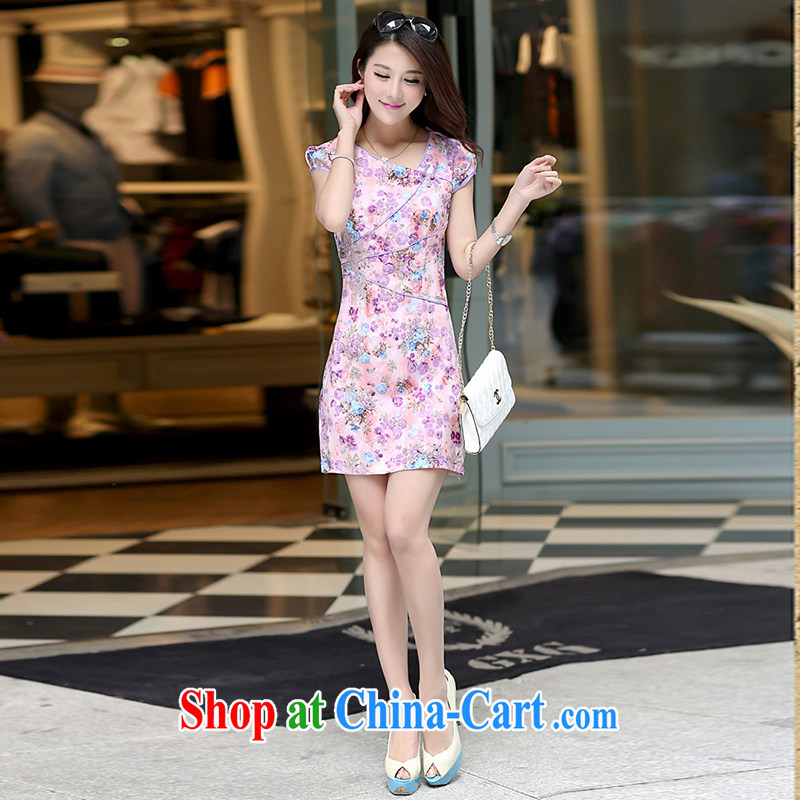 Nest, 2015 summer new retro fashion daily improved female embroidery cheongsam beauty dress pink XL