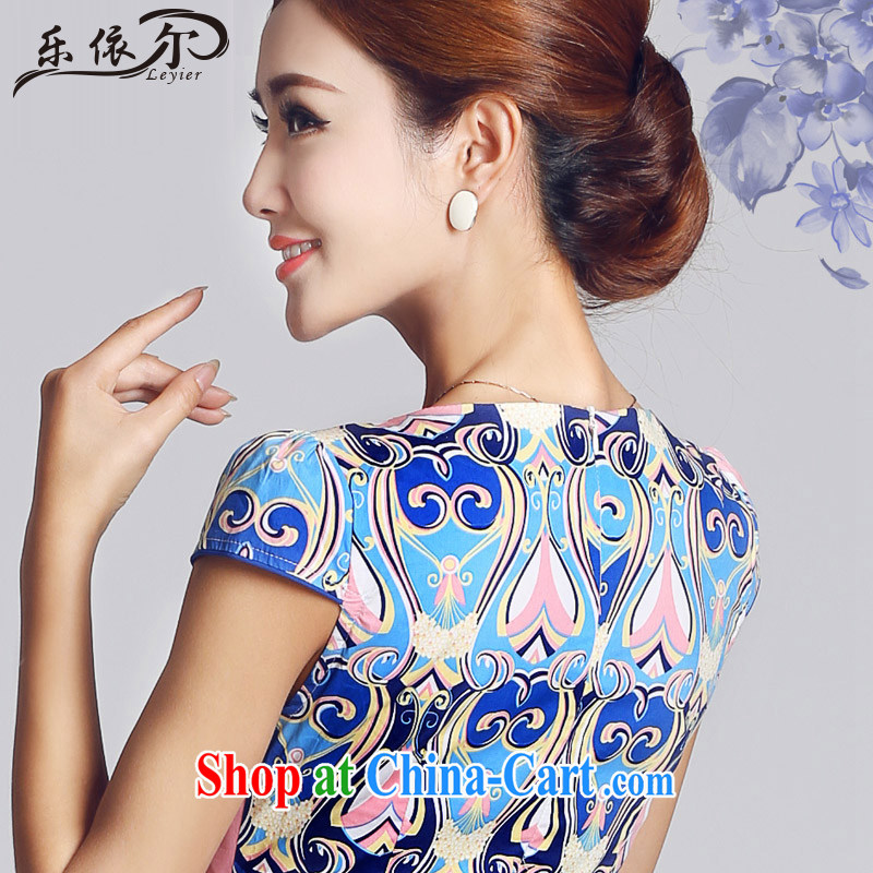 And, in accordance with antique Ethnic Wind blue and white porcelain pattern short cheongsam daily ladies dress cheongsam elegant LYE 33,301 blue XXL and, in accordance with (leyier), online shopping