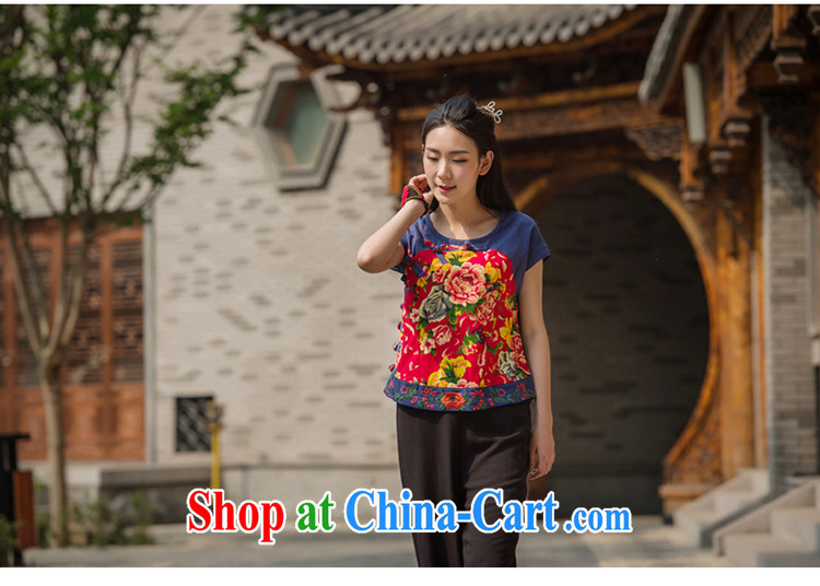 In 2015 Moon Ethnic Wind girls cotton load the Chinese Antique mulberry cloth stitching improved Chinese summer short shirt suit XL pictures, price, brand platters! Elections are good character, the national distribution, so why buy now enjoy more preferential! Health