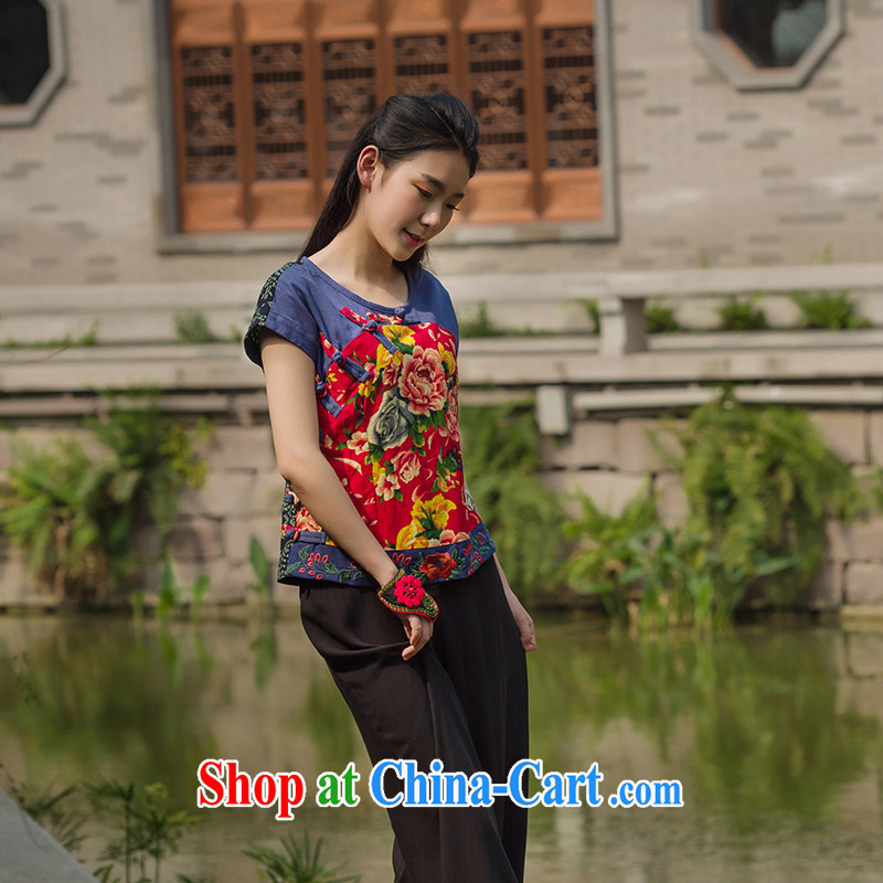 In 2015 Moon Ethnic Wind women's clothing cotton Ma Chinese Antique mulberry cloth stitching improved Chinese summer short T-shirt fancy XL
