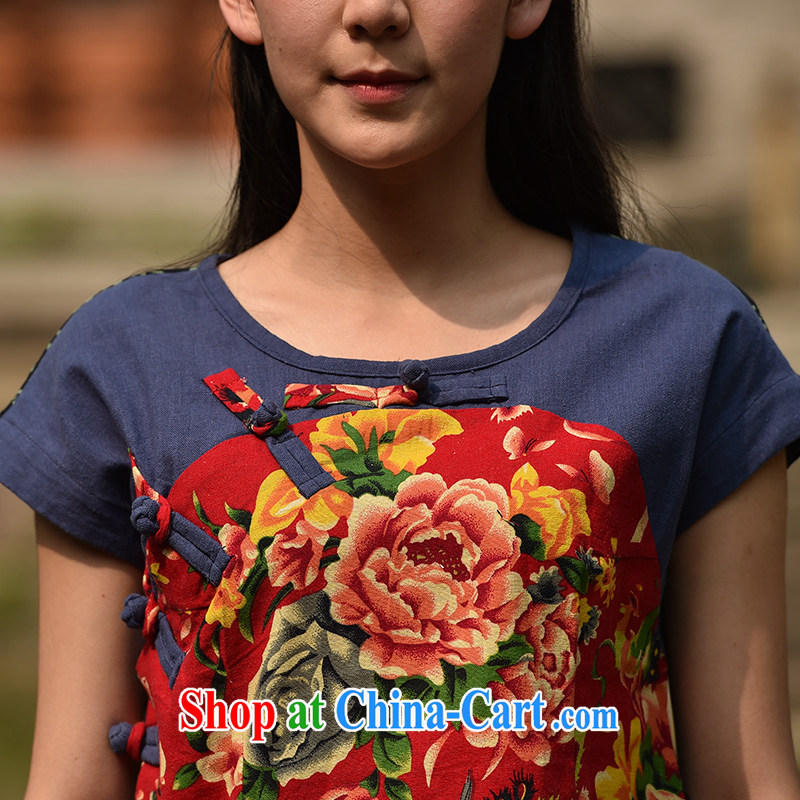 In 2015 Moon Ethnic Wind women cotton the Chinese Antique mulberry cloth stitching improved Chinese summer short, T-shirt suit XL, especially Nan (youjin), and shopping on the Internet