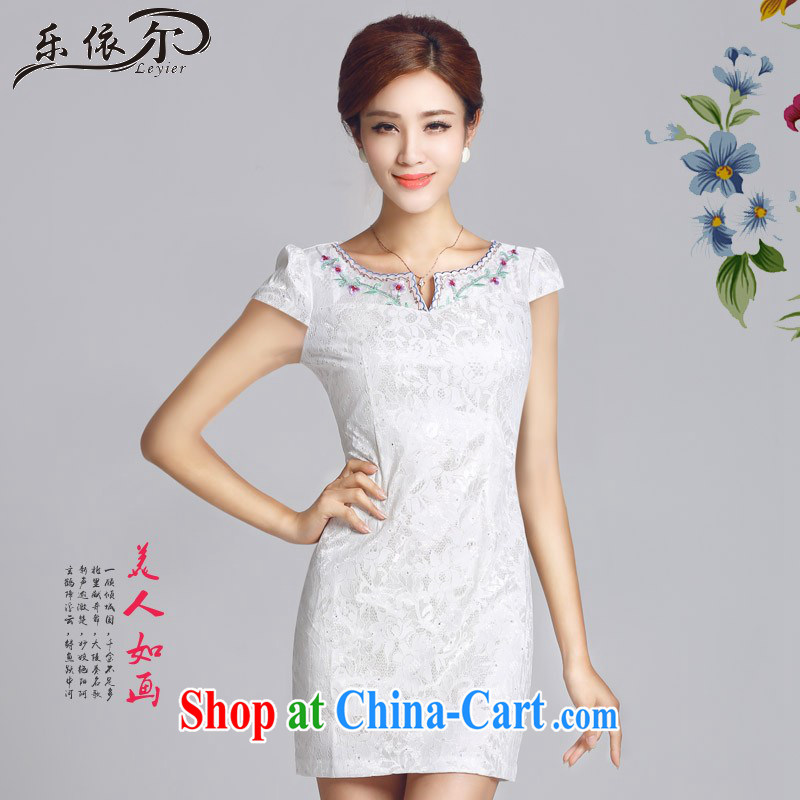 And, in accordance with antique improved lady dresses flower embroidery cheongsam dress daily cultivating short cheongsam LYE 66,626 white XXL